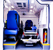 interior of fire medical vehicle